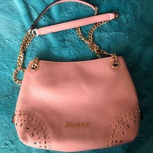 Michael Kors Pastel Pink Leather Chain Handbag